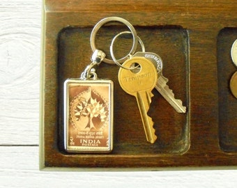 Bodhi Tree Keyring - upcycled 1956 postage stamp from India