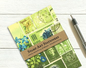 Spring Greens letter writing set, tonal postage stamp print