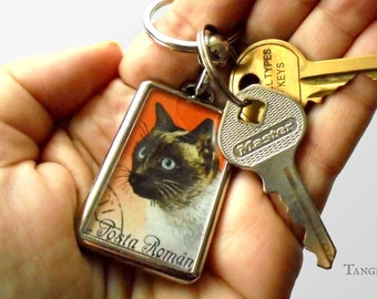 Siamese Cat Keyring, upcycled Romania postage stamp keychain