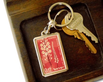 Pink Sea Squill Keyring - upcycled 1961 postage stamp celebrating Israel's independence