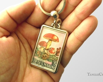 Red Mushroom Keychain - upcycled 1967 San Marino postage stamp