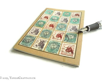 South Africa Travel Notebook - Vintage Wildlife Postage Stamps