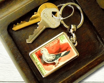 Quirky Pigeon Keyring - upcycled 1981 Romania postage stamp