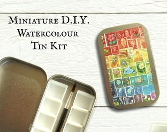 Mini DIY watercolour kit with hinged lid - choice of stamp art designs