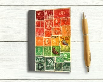 Winter Sunset List Book - Red Green Postage Stamp Art