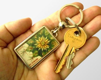 Cactus Keyring - upcycled 1965 postage stamp from Romania, botanical garden series