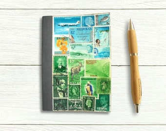 Blue Green Birthday & Address Book A6 • Mail Art Landscape Collage Cover