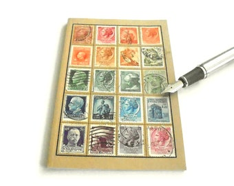 Italy Stamps Notebook, Upcycled Journal | OOAK Eclectic Travel Gift, Recycled Italian Postage Stamps | Europe Philately Postal History Gift