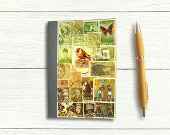 Postage stamp address book, upcycled bIrthday book | woodland bird theme original collage, recycled month Planner, A-Z index book for penpal