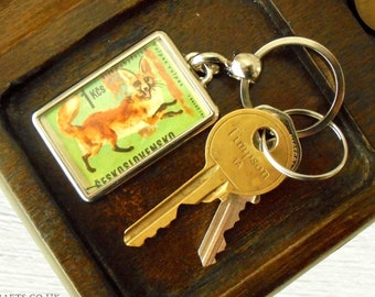 Red Fox Keyring - upcycled 1966 Czech postage stamp