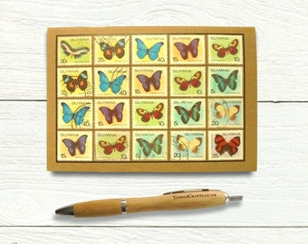 Guyana Butterflies Notebook - dot grid pages, postage stamp cover