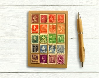 Rainbow address book & birthday book • upcycled vintage world postal stamps • Postage stamp collector gift for penpal or letter writer