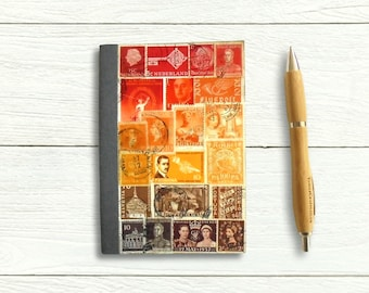 Unique postage stamp sunset travel notebook