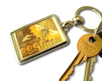 Honey Bee Keyring - real upcycled 1963 Romania postage stamp