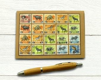 Kenya Wildlife Travel Notebook - vintage 1960s postage stamp cover
