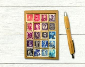 Purple Blue Ombre Notebook - vintage stamp album cover
