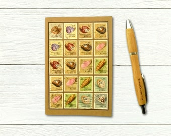 Sea Shell Travel Notebook - upcycled with 1971 Kenya postage stamps