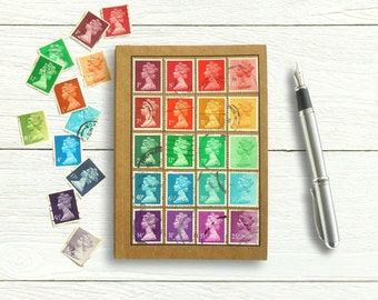 Recycled Rainbow Notebook - Machin Stamps British Travel Journal