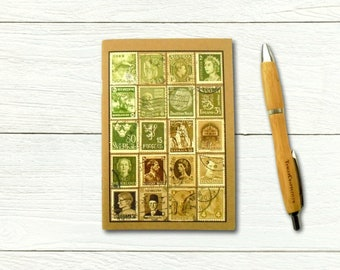 Moss Olive A6 Notebook - vintage stamp album cover