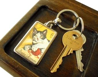 Retro Cat Keyring, recycled postage stamp keychain | Vintage kitten & ball of wool | unique 1965 birthday gift, upcycled ephemera keyfob