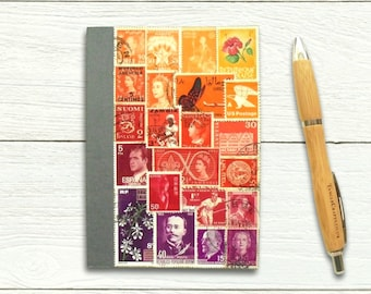 Flame ombre, undated A6 diary, upcycled vintage stamps notebook