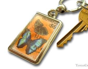 Blue Butterfly Keyring, vintage postage stamp keychain | nature lover gift morpho butterfly print | December birthday Guyana postmark keyfob