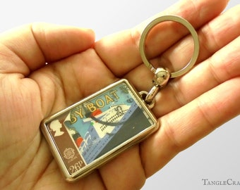 Retro Mail Boat Keyring - real 1988 GB postage stamp, vintage poster style