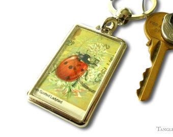 Lucky Ladybird Keyring - real upcycled 1985 British postage stamp