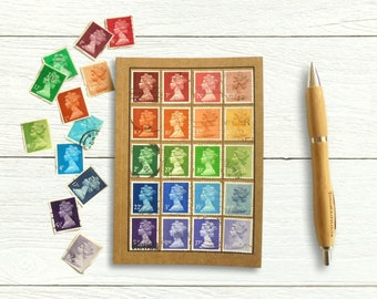 British Stamp Rainbow Notebook - Machin Collector Gift
