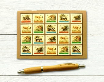 Tanzania Wildlife Travel Notebook - decorated with 1980 postage stamps of small mammals