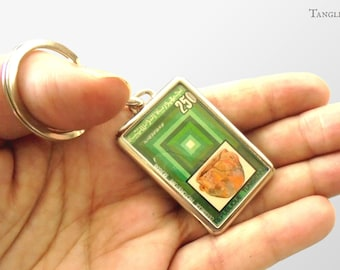 Green Geometric Keychain - Upcycled postage stamp gift | quilt pattern & pottery postal stamp keyring | silver plated keyfob with gift box