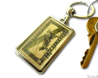 Airmail Airplane Keyring - real 1933 postage stamp from French IndoChina