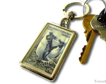 Penguin Postage Stamp Keyring - upcycled 1956 issue from French Antarctic