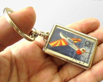 Sports Aircraft Keyring - real 1968 DDR Germany postage stamp