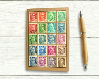 France Marianne Travel Notebook, upcycled with genuine vintage stamps