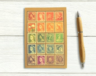 Australia Rainbow Travel Notebook, upcycled postage stamp gift