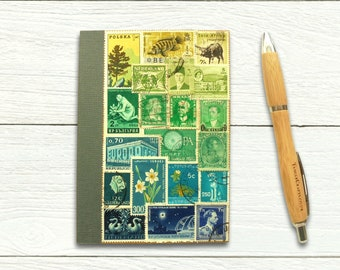 Green Blue Ombre Postage Stamp Journal, Undated A6 Notebook
