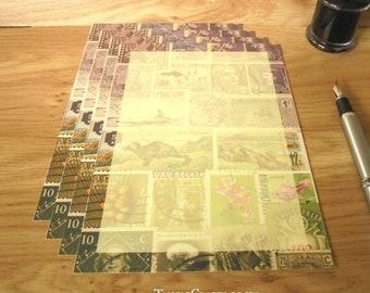 Heather Hills Writing Paper Set • A5 Notepaper, Postage Stamp Art Design
