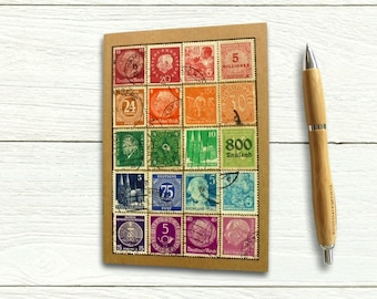 Germany Postage Stamp Notebook, upcycled postal history gift