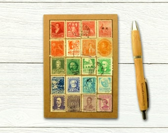 Latin America Travel Journal decorated with vintage postage stamps
