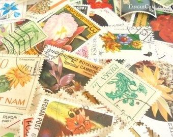 50 or 100 Nature & Botanical Mix, world postage stamps (loose in packet)