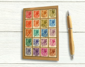 Italy Turrita Travel Notebook, upcycled with genuine vintage stamps