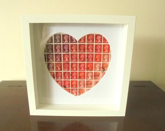 Love Heart Postage Stamp Art - Framed Machin Stamps