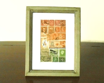 Abstract Sunset Collage - Framed Postage Stamp Shelf or Desk Art
