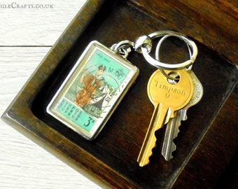 Boy Scout Keyring - upcycled 1963 postage stamp from Cyprus