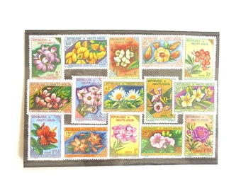 Flowers on Postage Stamps, Upper Volta 1963 - part set