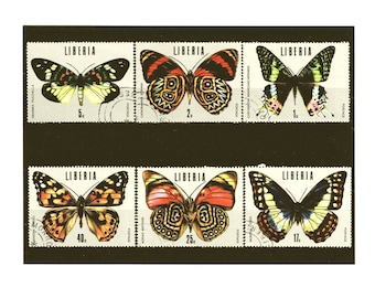 Tropical Butterflies - postage stamp part set from Liberia, 1974