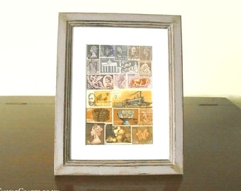 Abstract Landscape Collage - Framed or Unframed Postage Stamp Art