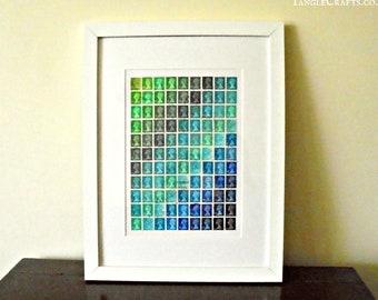 Green-Blue Stripe Postage Stamp Art - Framed Machin Stamps