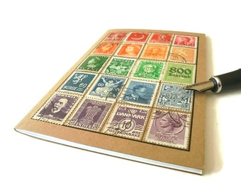 Vintage Rainbow World Stamp Notebook, A6